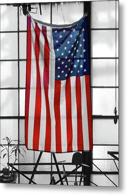 Metal Print featuring the photograph American Flag In The Window by Mike McGlothlen