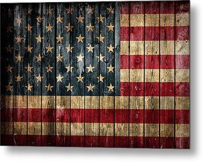 American Flag Painted On Reclaimed Barn Wood Metal Print by Design Turnpike
