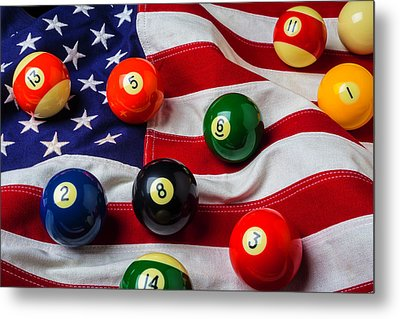 American Flag With Game Pool Balls Metal Print by Garry Gay