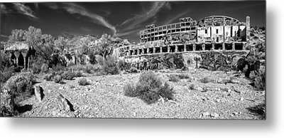 Metal Print featuring the photograph American Flat Mill Virginia City Nevada Panoramic Monochrome by Scott McGuire