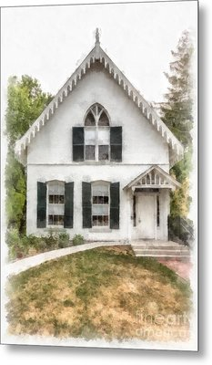American Gothic Cottage Watercolor Metal Print