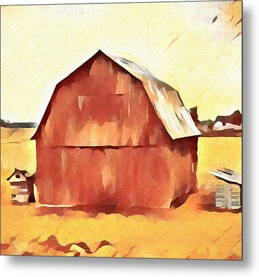 Metal Print featuring the painting American Gothic Red Barn by Dan Sproul
