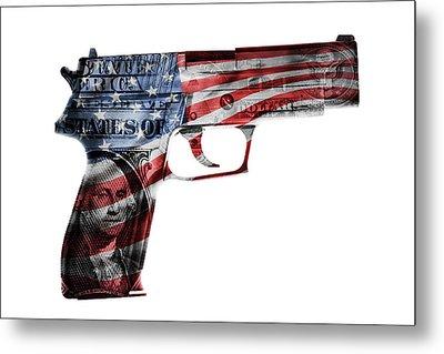 American Gun  Metal Print by Les Cunliffe