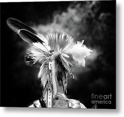 American Indian In Black And White Metal Print by Tom Gari Gallery-Three-Photography