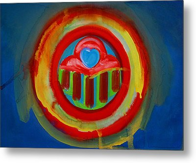 Metal Print featuring the painting American Love Button by Charles Stuart