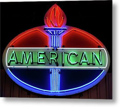Metal Print featuring the photograph American Oil Sign by Sandy Keeton