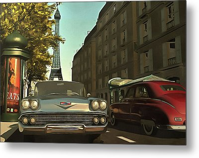 American  Oldtimers In Paris Metal Print