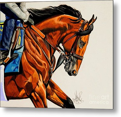 American Pharoah - Triple Crown Winner In White Metal Print