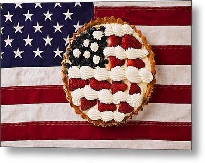 American Pie On American Flag  Metal Print by Garry Gay