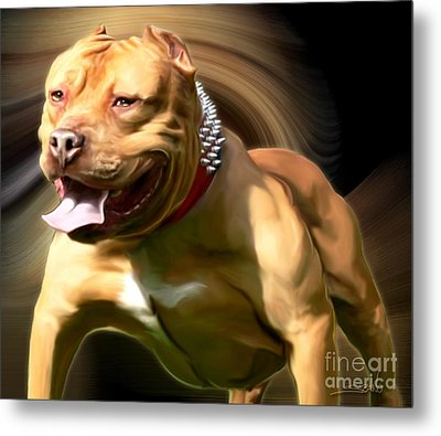 American Red Bully Pitbull By Spano Metal Print
