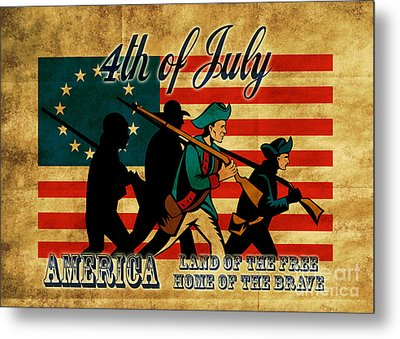 American Revolution Soldier Marching Metal Print by Aloysius Patrimonio