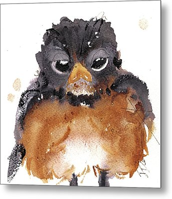 Metal Print featuring the painting American Robin by Dawn Derman