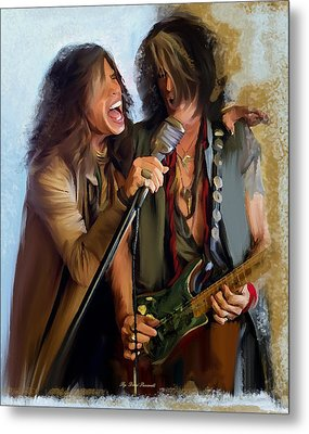 American Rock  Steven Tyler And Joe Perry Metal Print by Iconic Images Art Gallery David Pucciarelli