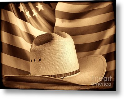 American Rodeo Cowboy Hat Metal Print by American West Legend By Olivier Le Queinec