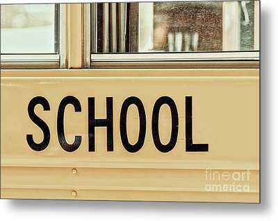 American School Bus Sign Metal Print