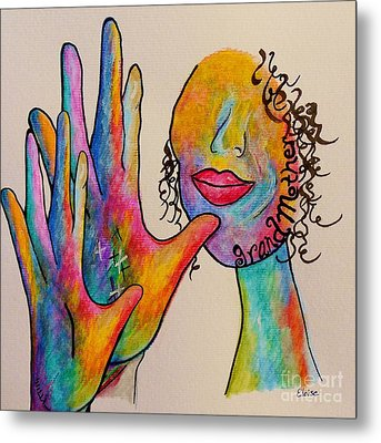 American Sign Language Grandmother Metal Print by Eloise Schneider