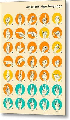 American Sign Language Hand Alphabet Metal Print by Jazzberry Blue
