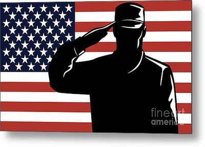 American Soldier Salute Metal Print by Aloysius Patrimonio