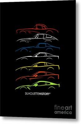 American Sports Car Silhouettehistory Metal Print