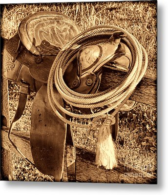 American West Legend Rodeo Western Lasso On Saddle Metal Print by American West Legend By Olivier Le Queinec