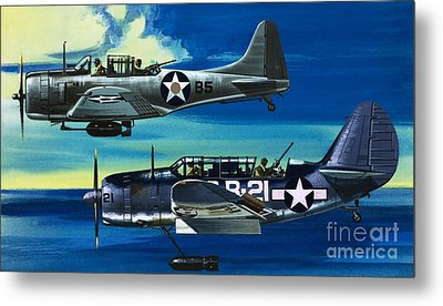 American Ww2 Planes Douglas Sbd1 Dauntless And Curtiss Sb2c1 Helldiver Metal Print by Wilf Hardy