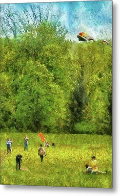 Americana - People - Let's Go Fly A Kite Metal Print by Mike Savad