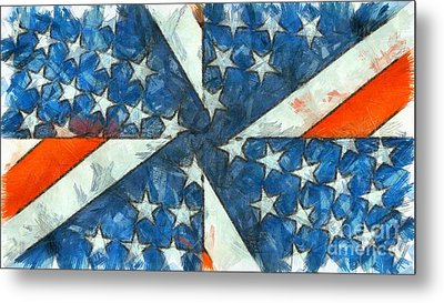 Metal Print featuring the digital art Americana Abstract by Edward Fielding