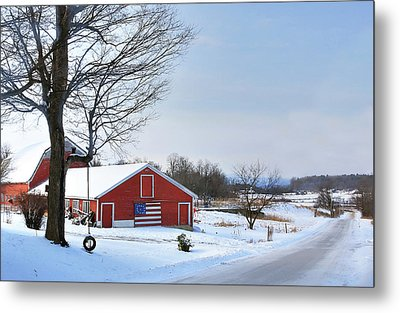 Metal Print featuring the digital art Americana Barn In Vermont by Sharon Batdorf