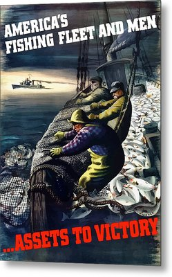 America's Fishing Fleet And Men  Metal Print by War Is Hell Store