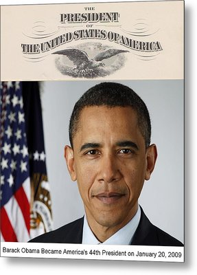 America's Forty-fourth President - Version Two Metal Print by Philip Burrow