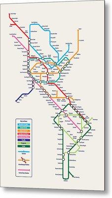 Americas Metro Map Metal Print by Michael Tompsett