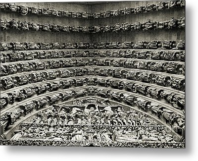 Amiens Cathedral - Tympanum Of Central West Portal Bw Metal Print by RicardMN Photography