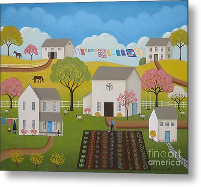 Amish Afternoon Metal Print by Mary Charles