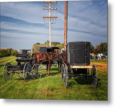 Amish At The Auction Metal Print by Al  Mueller