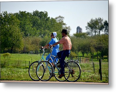 Amish Bike Ride Metal Print