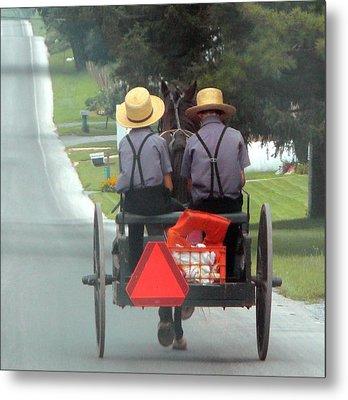 Amish Boys On A Ride Metal Print by Lori Seaman