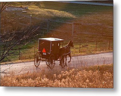 Amish Buggy Afternoon Sun Metal Print