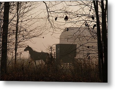 Amish Buggy Fall Metal Print