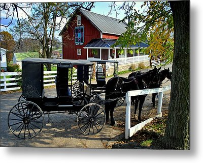 Amish Country Horse And Buggy Metal Print
