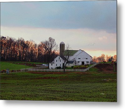 Amish Farm At Dusk Metal Print