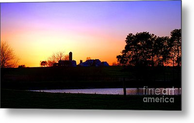 Amish Farm Sunset Metal Print by Olivier Le Queinec