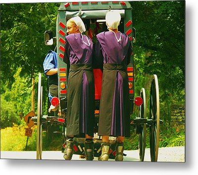 Amish Girls On Roller Blades Metal Print by Jeanette Oberholtzer