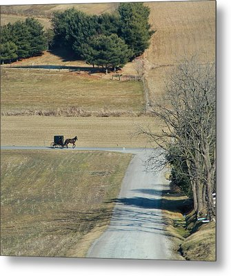 Amish Horse And Buggy On A Country Road Metal Print by Dan Sproul