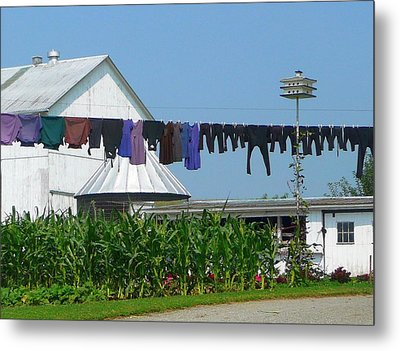 Amish Laundry Metal Print by Lori Seaman