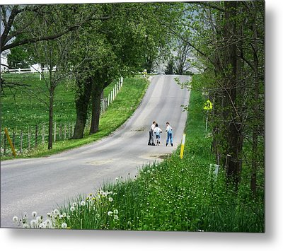 Amish Roller Skating Metal Print by Joyce Kimble Smith