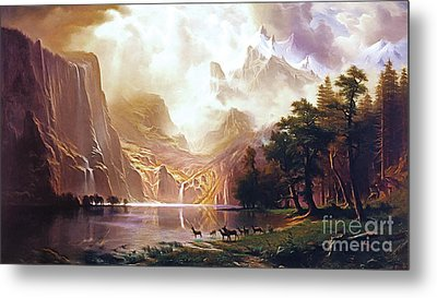 Metal Print featuring the painting Among The Sierra Nevada California By Albert Bierstadt 20170409 by Wingsdomain Art and Photography