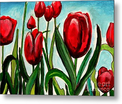 Among The Tulips Metal Print by Elizabeth Robinette Tyndall