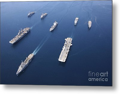 Amphibious Task Force-west In Formation Metal Print by Stocktrek Images