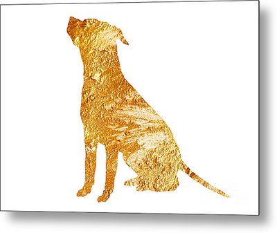 Amstaff Gold Silhouette Large Poster Metal Print by Joanna Szmerdt