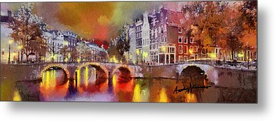 Amsterdam At Night Metal Print by Anthony Caruso